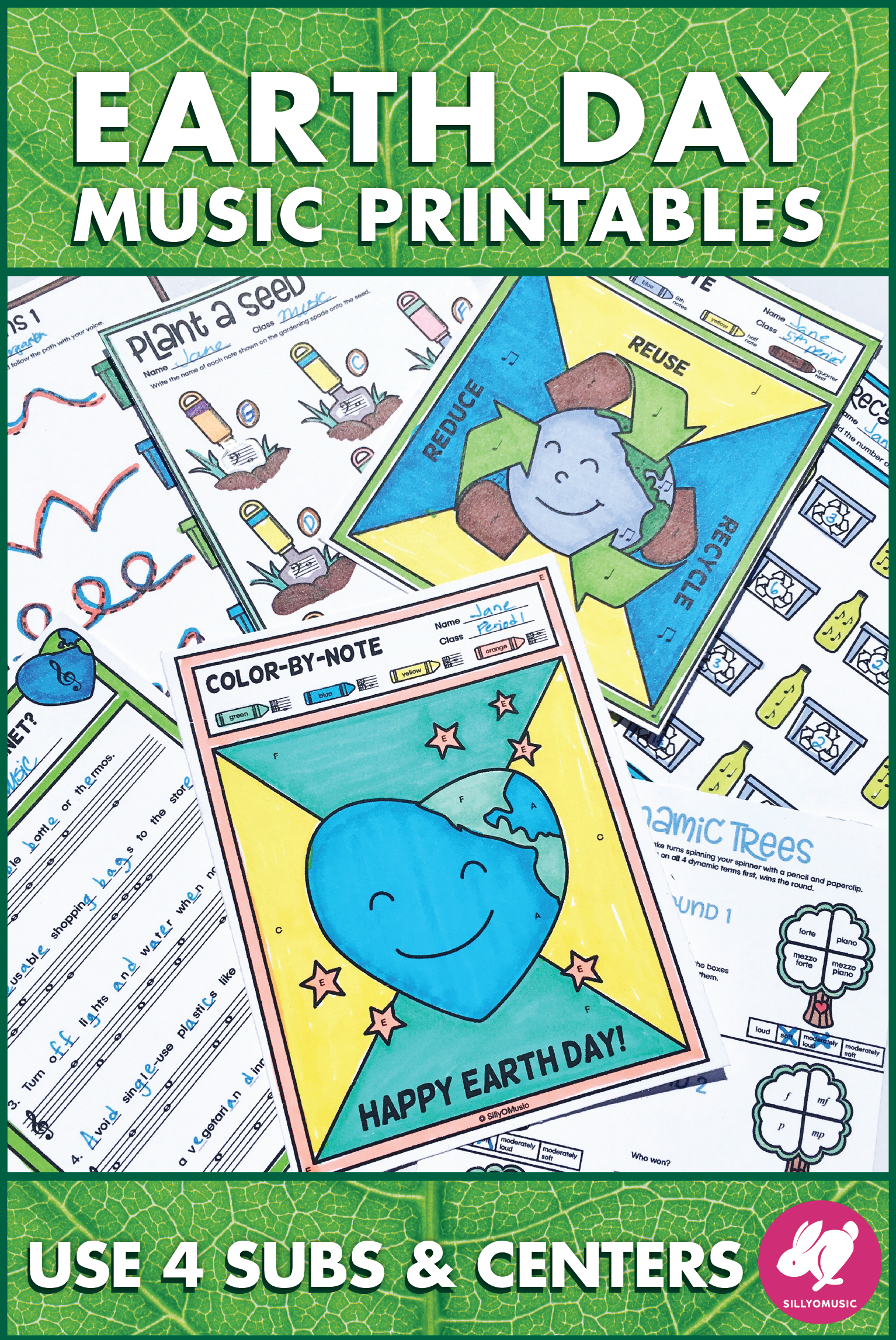 Earth Day Music Activities And Color By Note