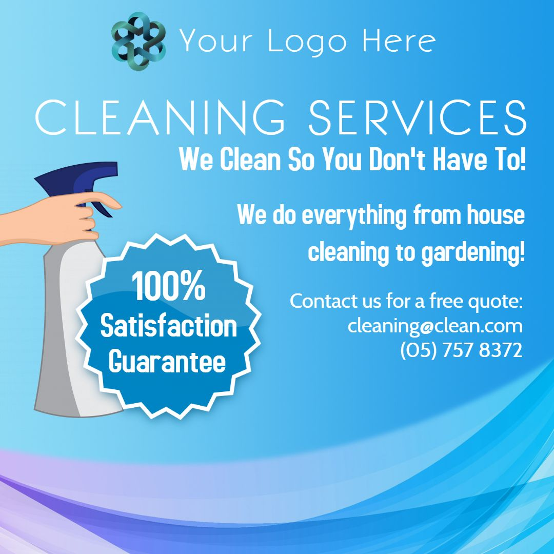 Cleaning Service Advertisement Instagram Post Template Cleaning Service Flyer Cleaning Service