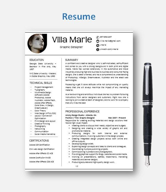 Photo Resume Template, Professional Resume Design, modern resume