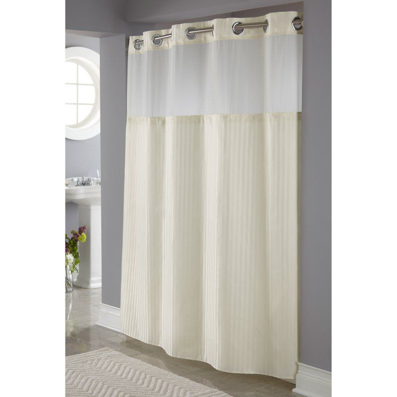 Hookless Beige Herringbone Shower Curtain With It S A Snap Fabric