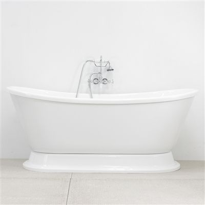 Vtabt73 73 Hot Air Jetted French Bateau Tub With Drain And