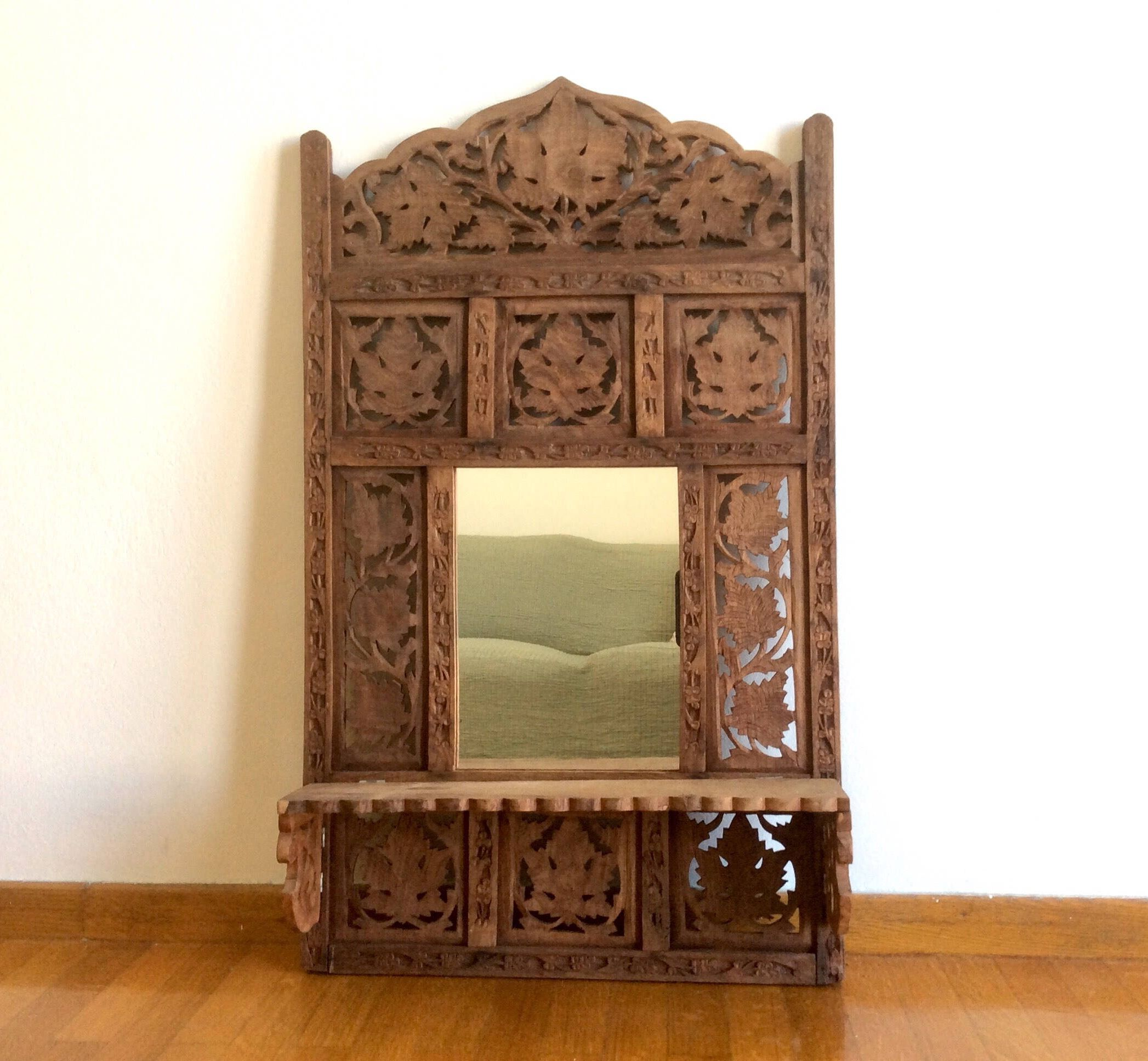 Antique Hand Carved Wood Ornate Wall Mirror With Shelf Etsy Wall Mirror With Shelf Wall Shelf Decor Mirror Wall