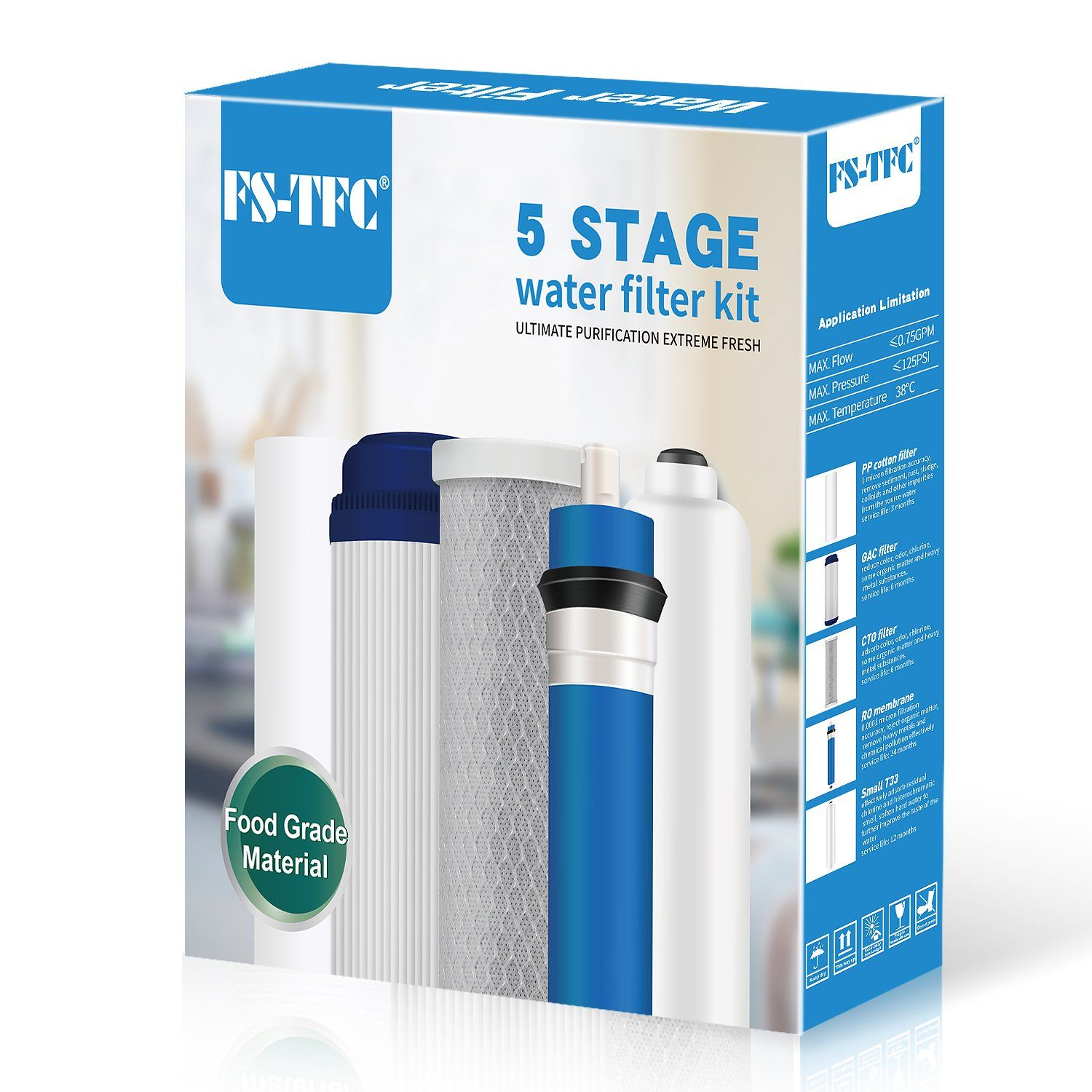 fs tfc reverse osmosis system 1 year replacement filter set for