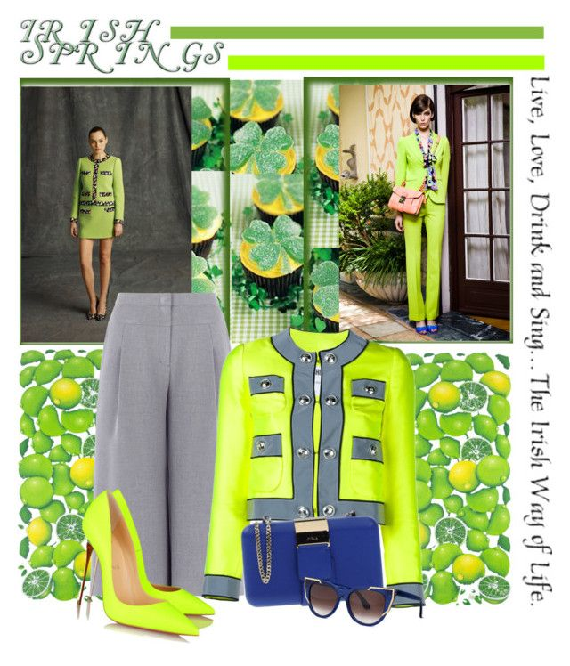 """""""Irish Spring """" by cool-cute ❤ liked on Polyvore featuring NOVICA, Moschino, BCBGMAXAZRIA, Christian Louboutin, Furla and Thierry Lasry"""