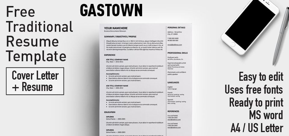 Gastown is a 2-column free traditional resume template One-page