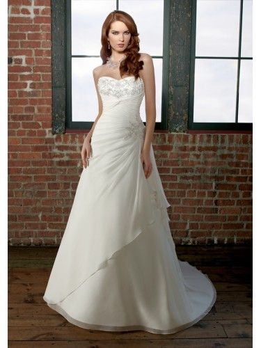 Chiffon Embroidered Bodice A-line Wedding Dress