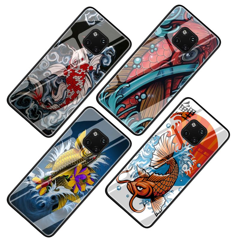 Japan Tattoo Koi Fish Tempered Glass Cover Case For Huawei P10 P20 P30 Mate 20 Honor 9 10 Lite Pro 7a 8x P Smart In Half Wrapped Cases From Cellphones Telecom Japan