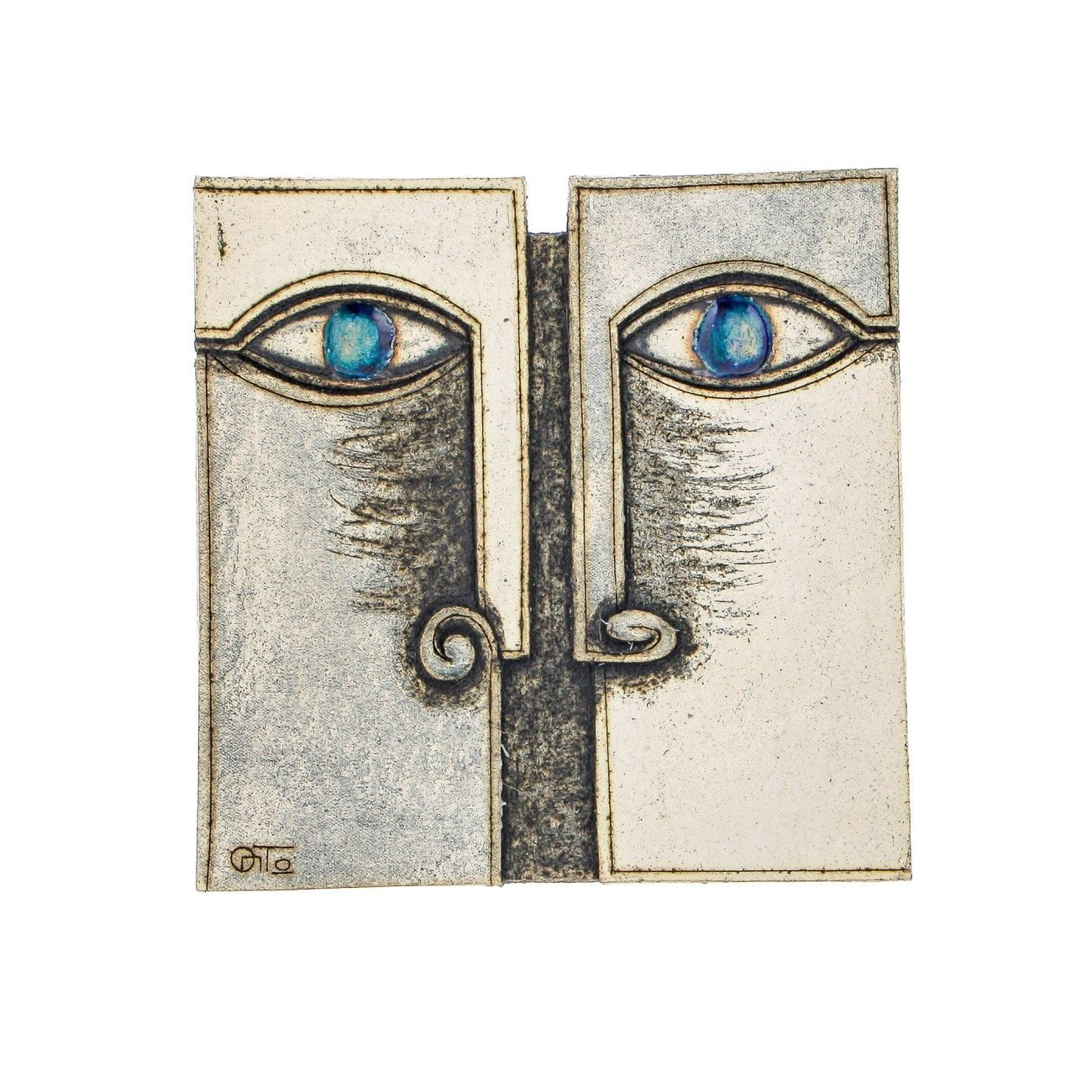 Square Decorative Plate Handmade Ceramic Archaic Face Design for Table or Wall Design A  sc 1 st  Pinterest & Square Decorative Plate Handmade Ceramic Archaic Face Design for ...