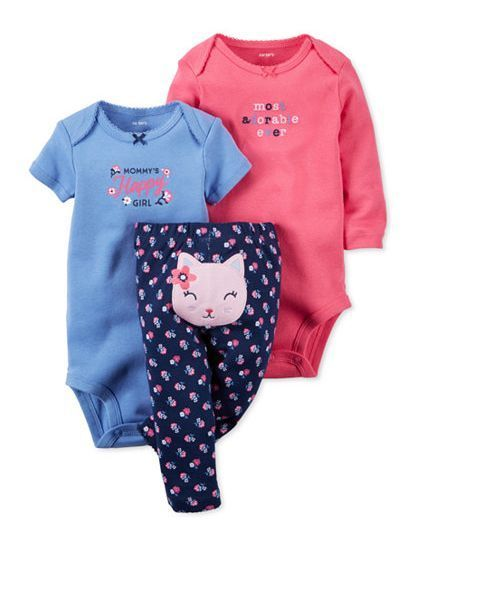 Carter/'s NWT 6M Infant Girl 3pc Bodysuit Set $26