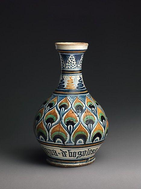 Pharmacy Bottle Pesaro Probably Italy Ca 1470 1500 Tin Glazed Earthenware Maiolica H 30 8 Cm Metropo Italian Pottery Italian Majolica Italian Ceramics