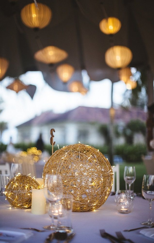 Romantic Table Center Piece With Rattan Balls Fairy Lights And Candles Lighted Centerpieces Romantic Table Dyi Wedding