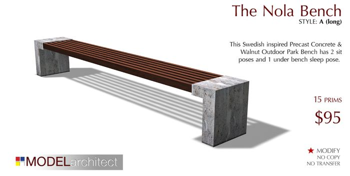 The Nola Outdoor Park Bench Style ALong Modern Concrete Walnut