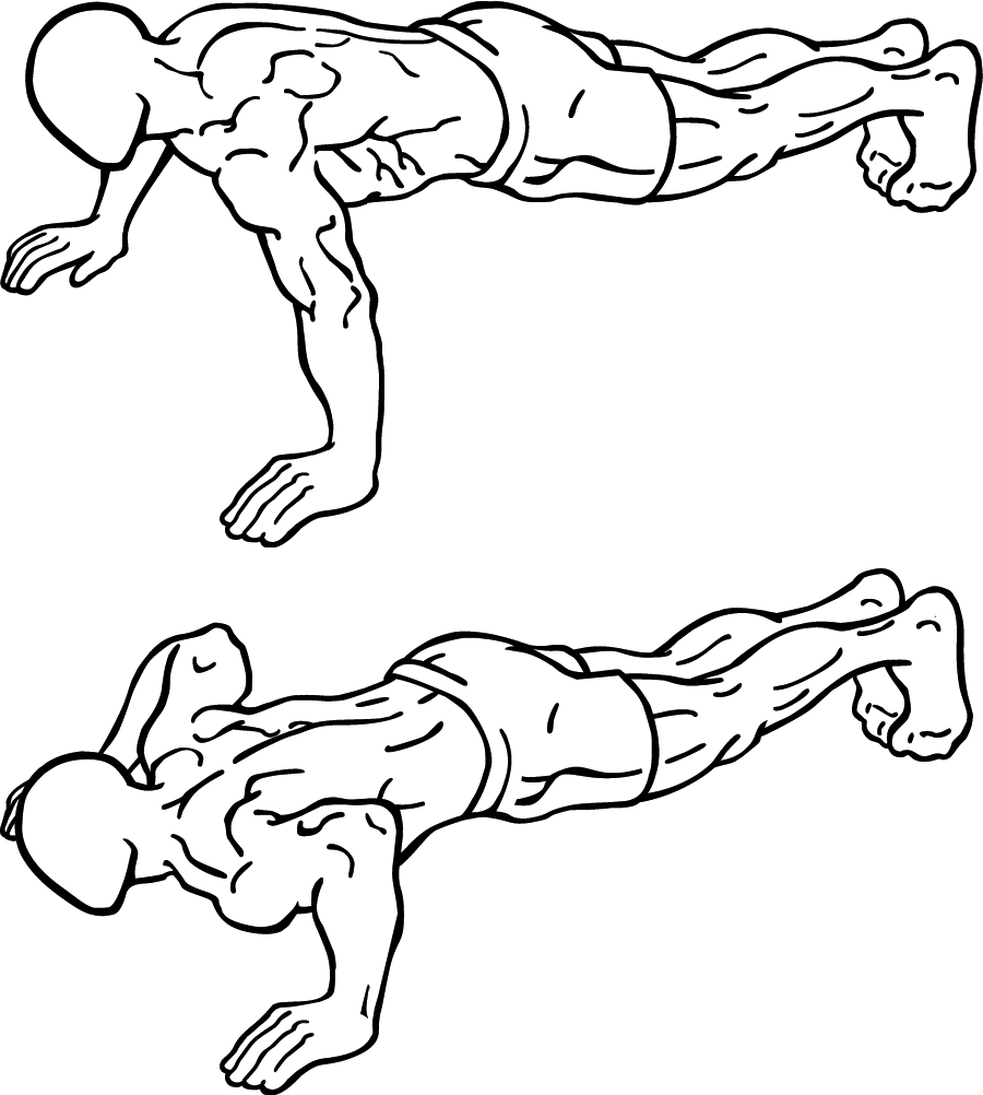 BASIC PUSH UP FORM: First, hand are shoulder width apart