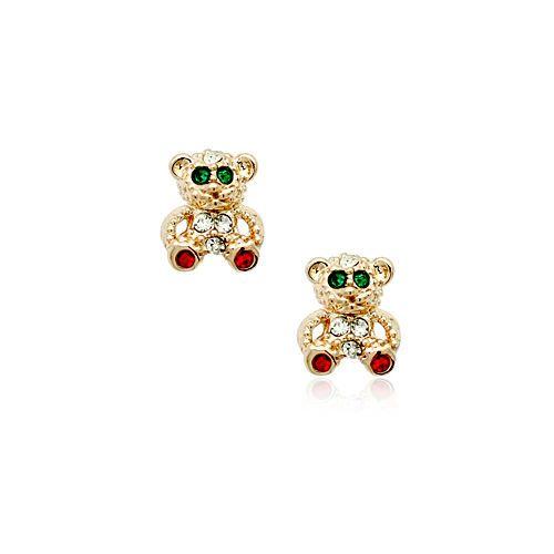 18k rose GP gold plated children kids teddy bear stud earrings ESRGP000MCTD