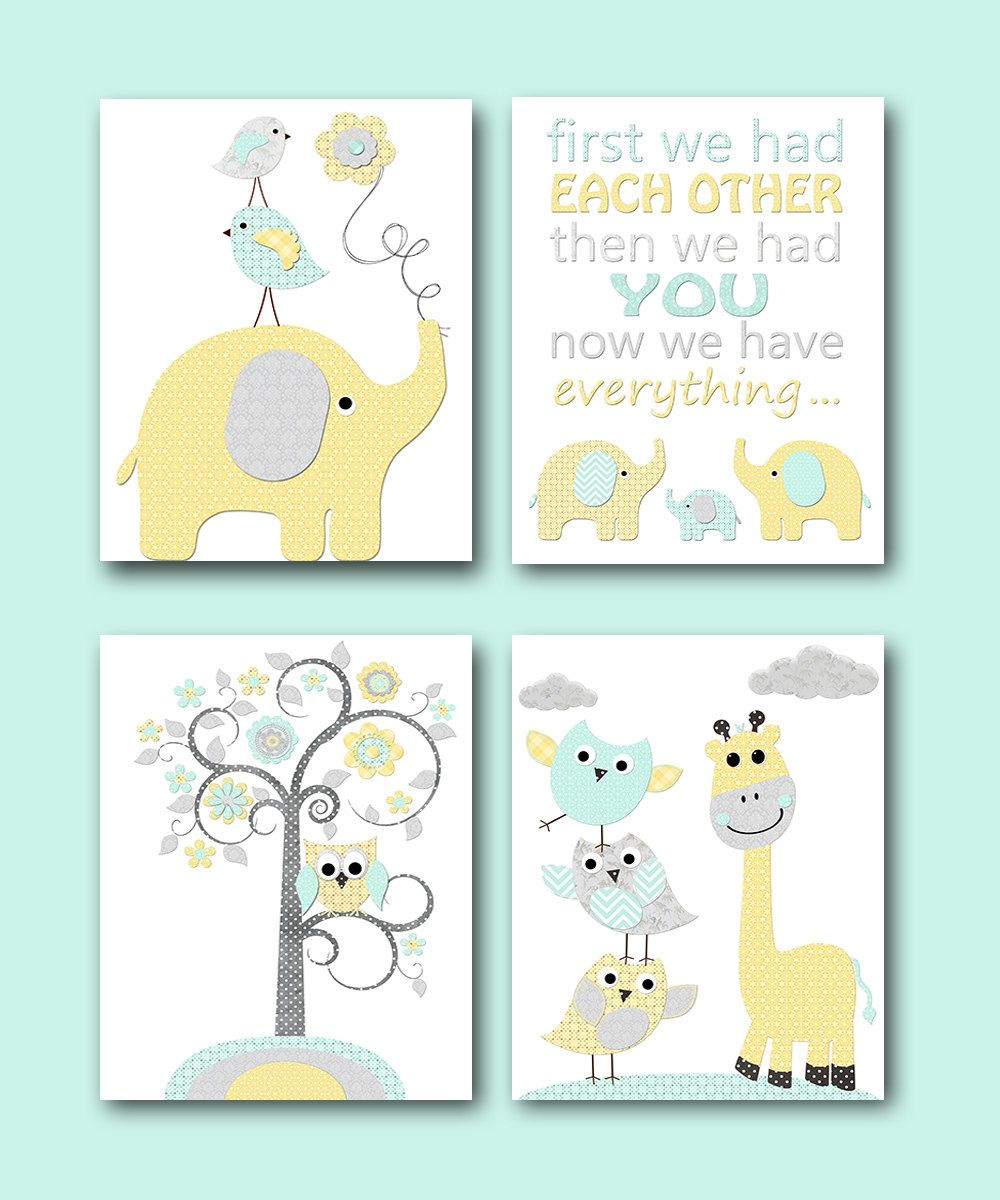 Yellow grey mint baby boy neutral nursery canvas elephant quotes art wall kids room decor set of by artbynataera on also rh pinterest