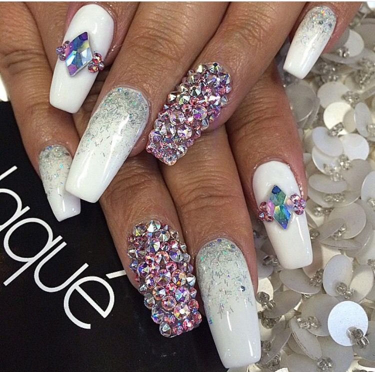Bedazzled nails. White nails. Squared nails. | Nails Galore ...