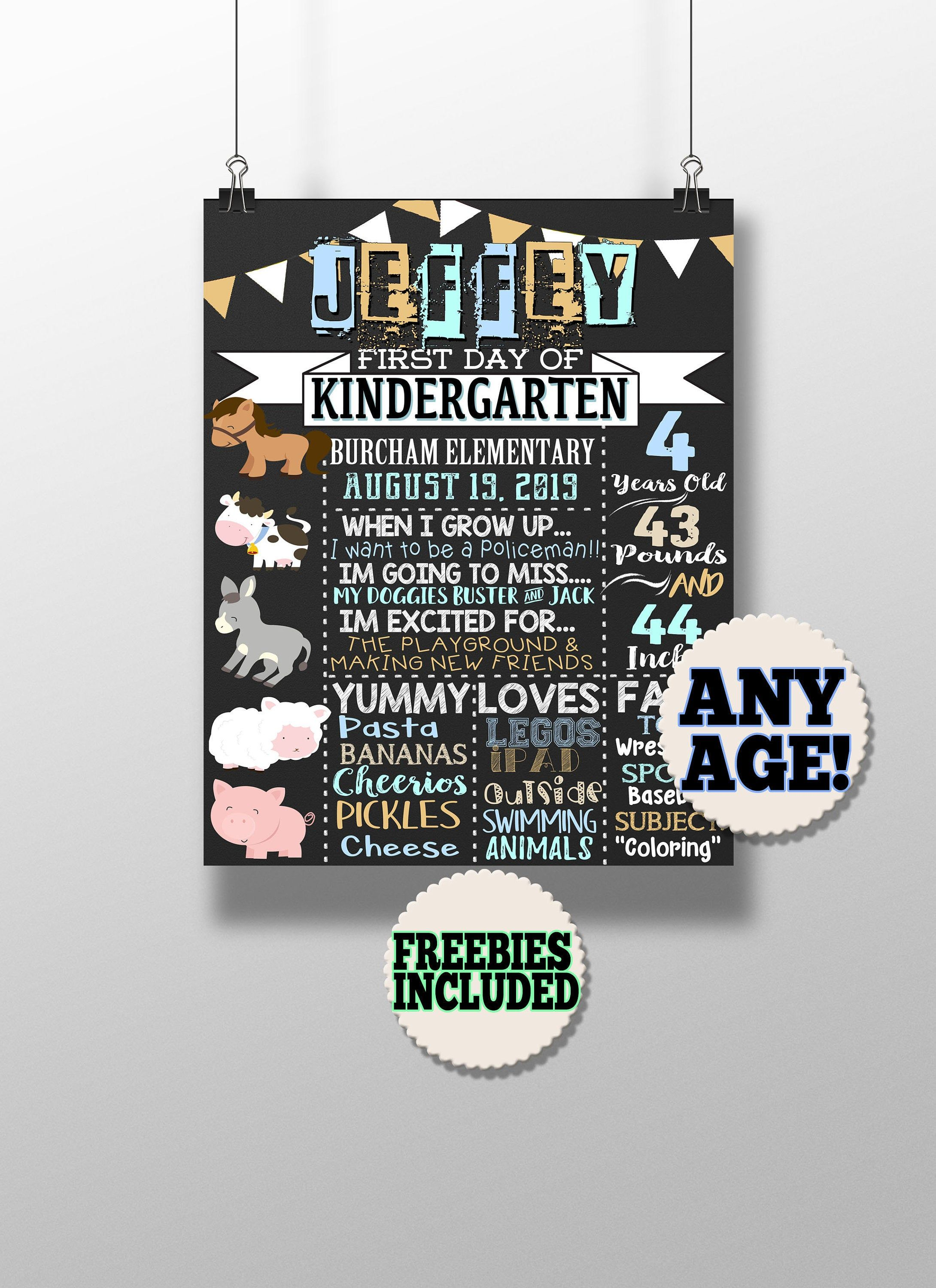 Farm Animal first day of school sign - boys first day of school sign - kids 1st day of school sign printables - 1st day of preschool signs #firstdayofschoolsign