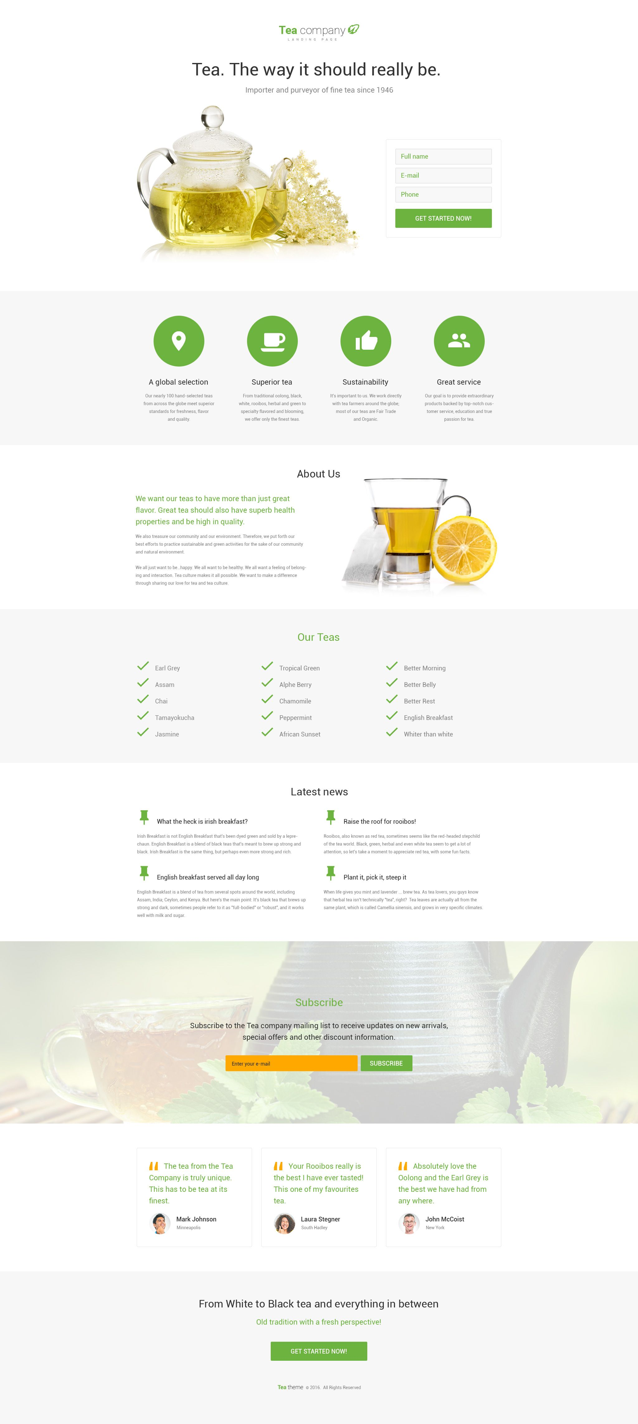Tea Company HTML Template