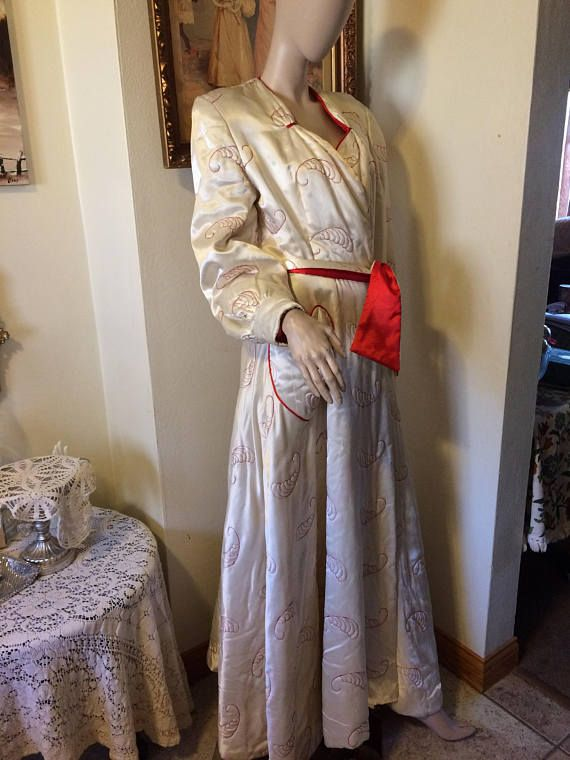 Vintage 40s Paulette Red White Quilted Satin Hearts Old Hollywood ...