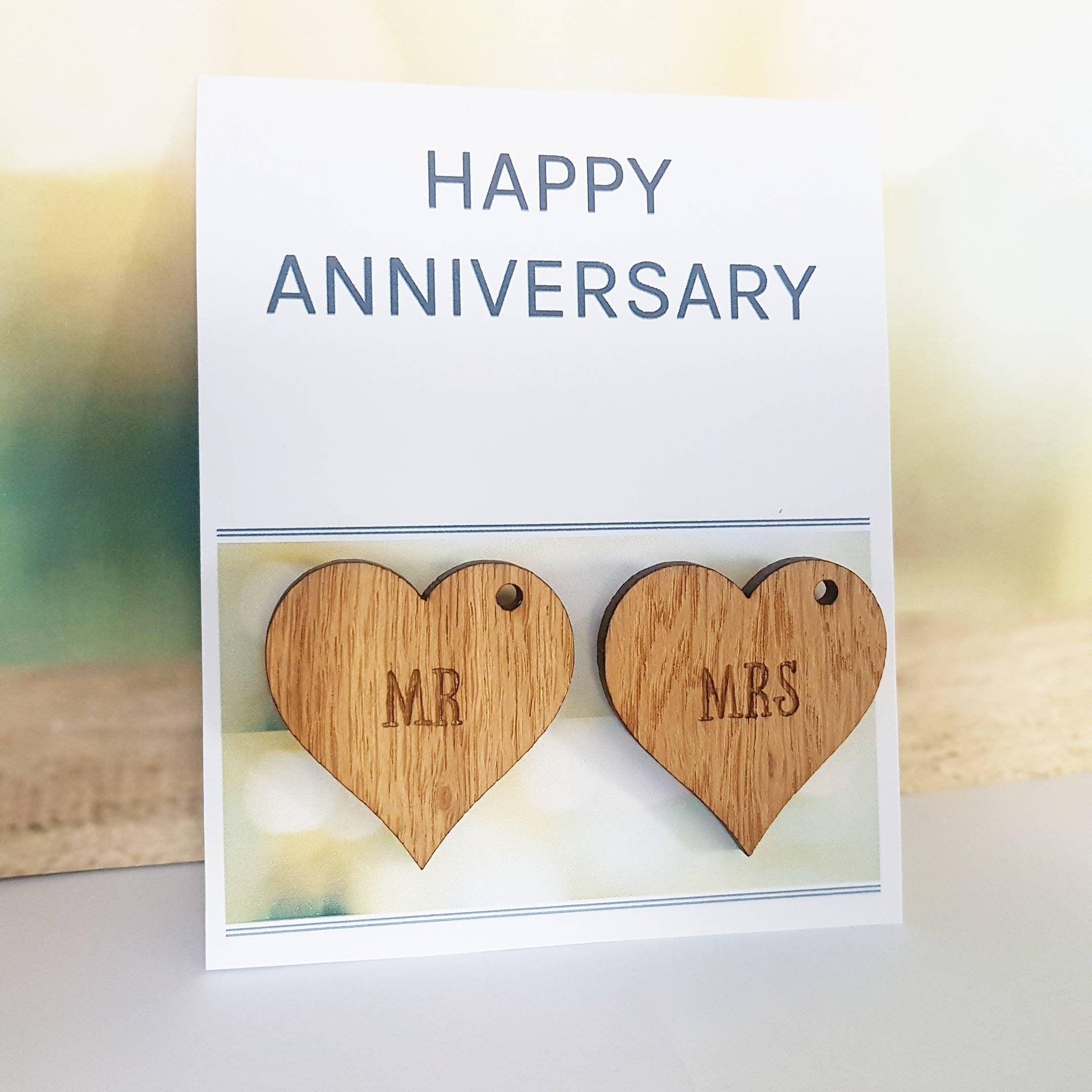 Anniversary Card, Husband Gift, Wife Card, Wood, Wooden