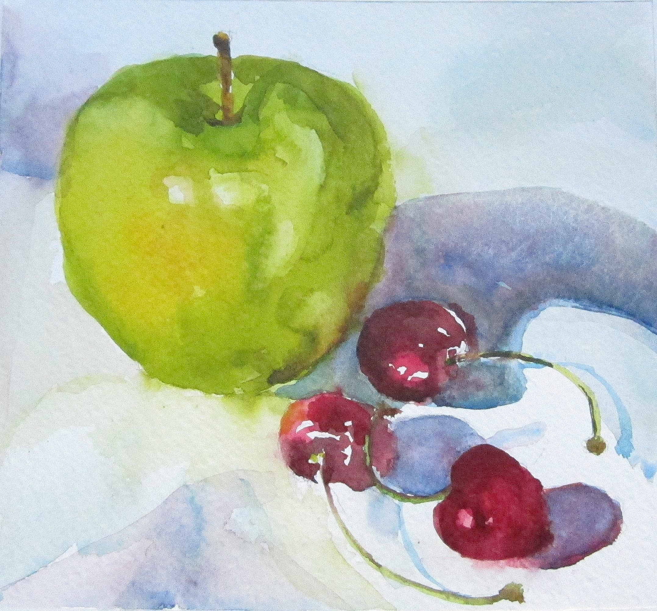Green apple and cherries. Watercolor Print available at http ...