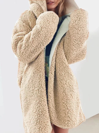 Hot Sale Fashoin Teddy Bear Coat Womens Solid Fluffy Autumn Winter Warm Ladies Hooded Zip Jumper Fleece Faux Fur Coat Women's Clothing