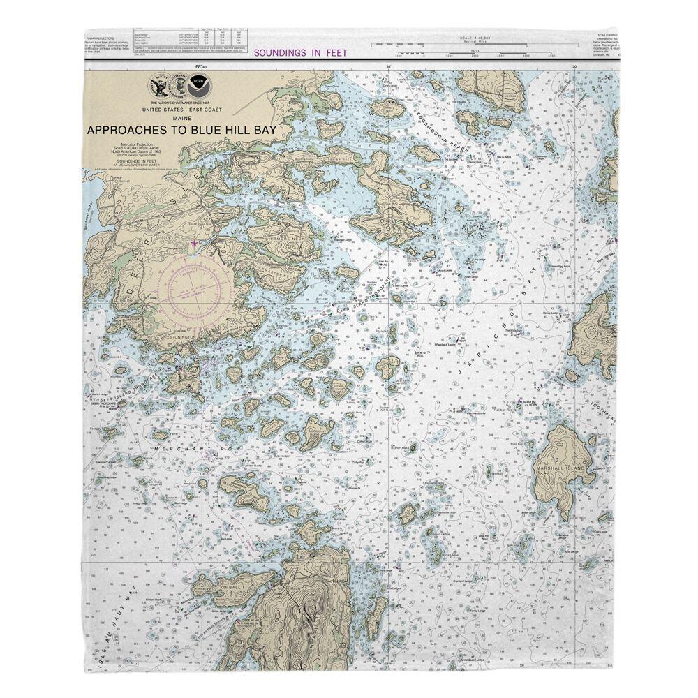 Me Deer Isle Me Nautical Chart Blanket Deer Isle Nautical Chart Fleece Blanket