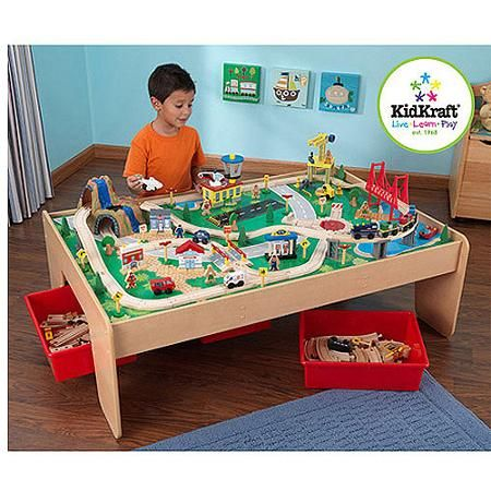KidKraft Wooden Train Table with 3 Bins and 120-Piece Waterfall Mountain Train Set  sc 1 st  Pinterest & KidKraft Wooden Train Table with 3 Bins and 120-Piece Waterfall ...