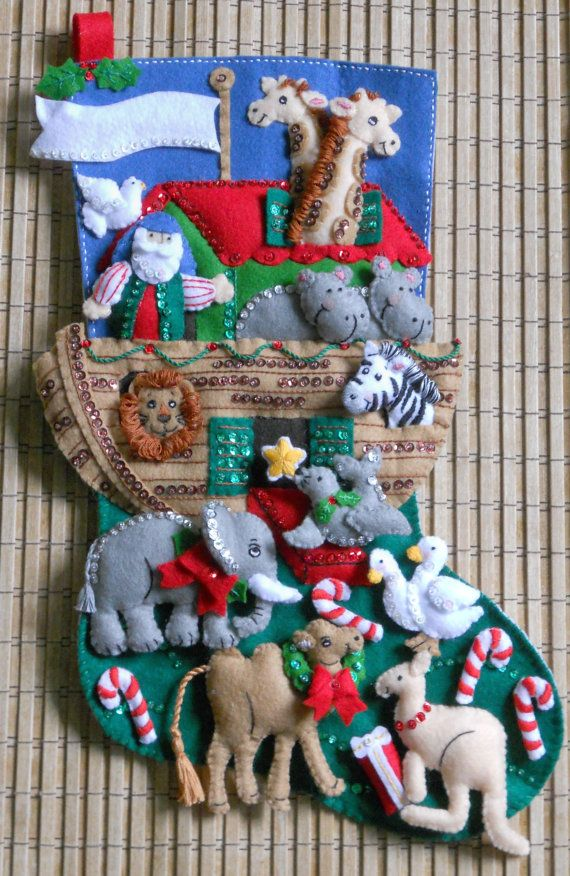 Bucilla 86976E Noahs Ark Felt Stocking Kit Multi Color