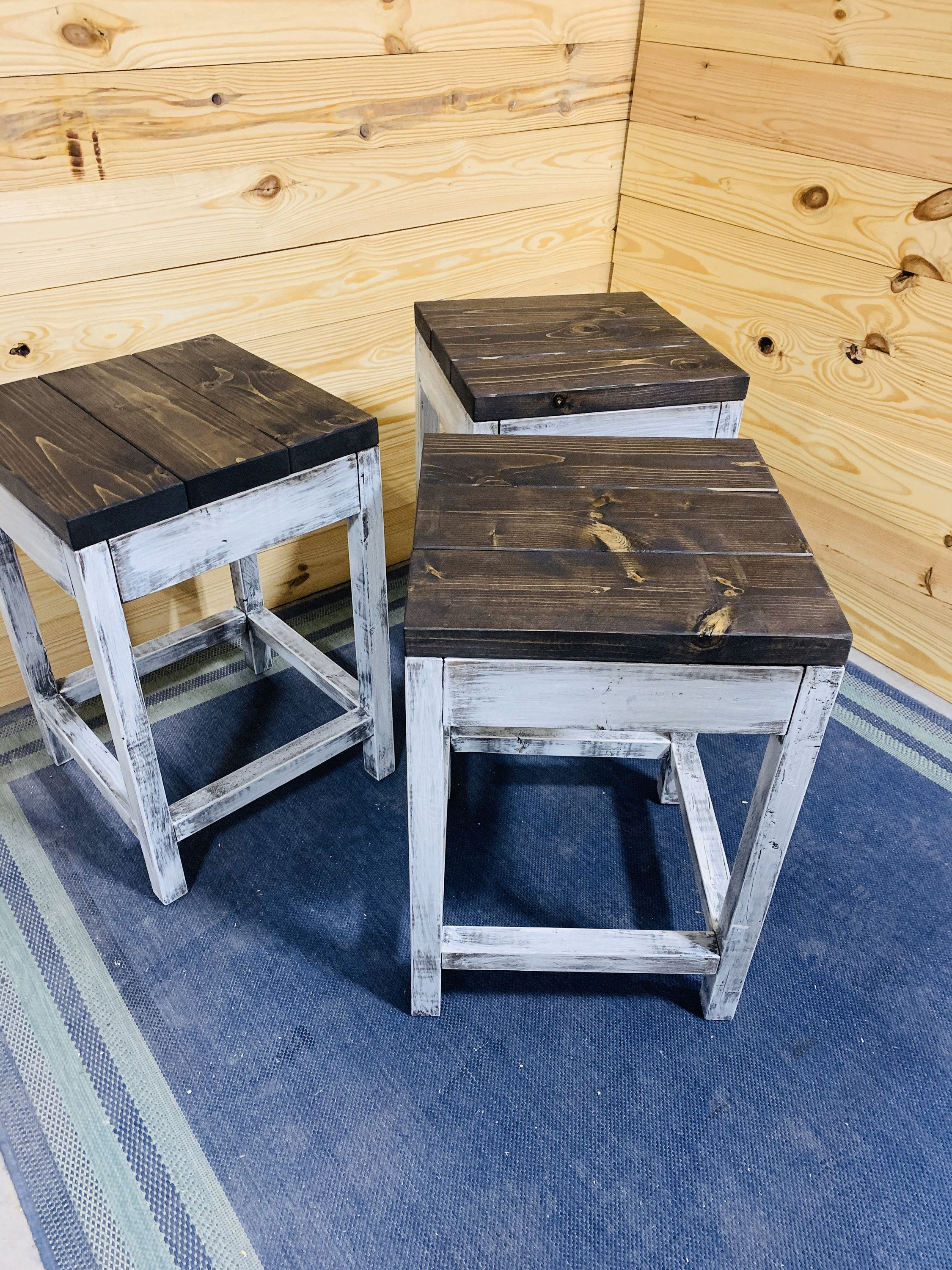 Rustic Farmhouse Counter Height Stools, Espresso Brown Top