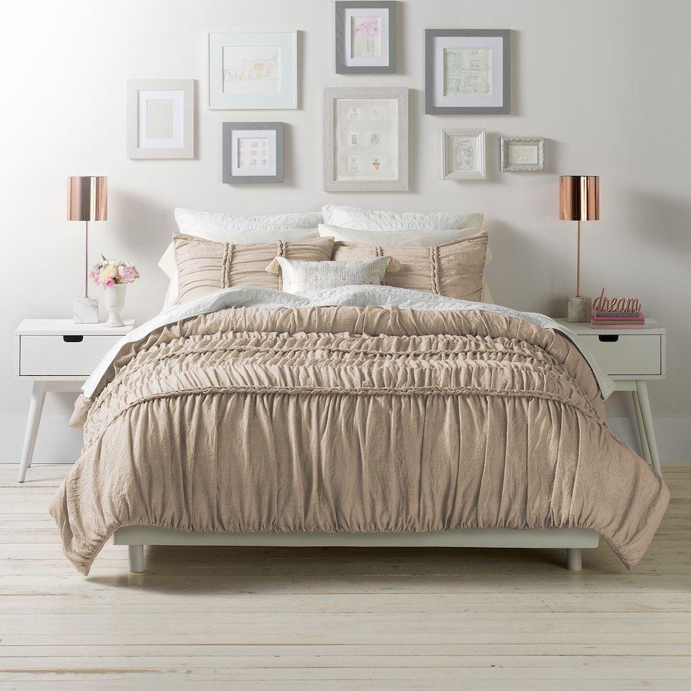 Lc Lauren Conrad Braided Duvet Cover Set Beig Green Twin In 2020 Comforter Sets Duvet Cover Sets Bedroom Decor