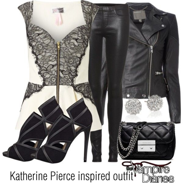 Katherine Pierce inspired outfit/TVD by tvdsarahmichele on Polyvore featuring Lipsy, MuuBaa, Helmut Lang, Nine West, MICHAEL Michael Kors and Kate Spade