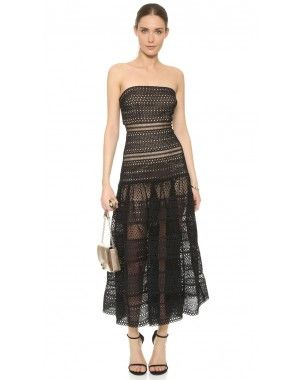 1464e39b5e25 Self-Portrait Sculpted Strapless Lace Dress Black | Love it ...