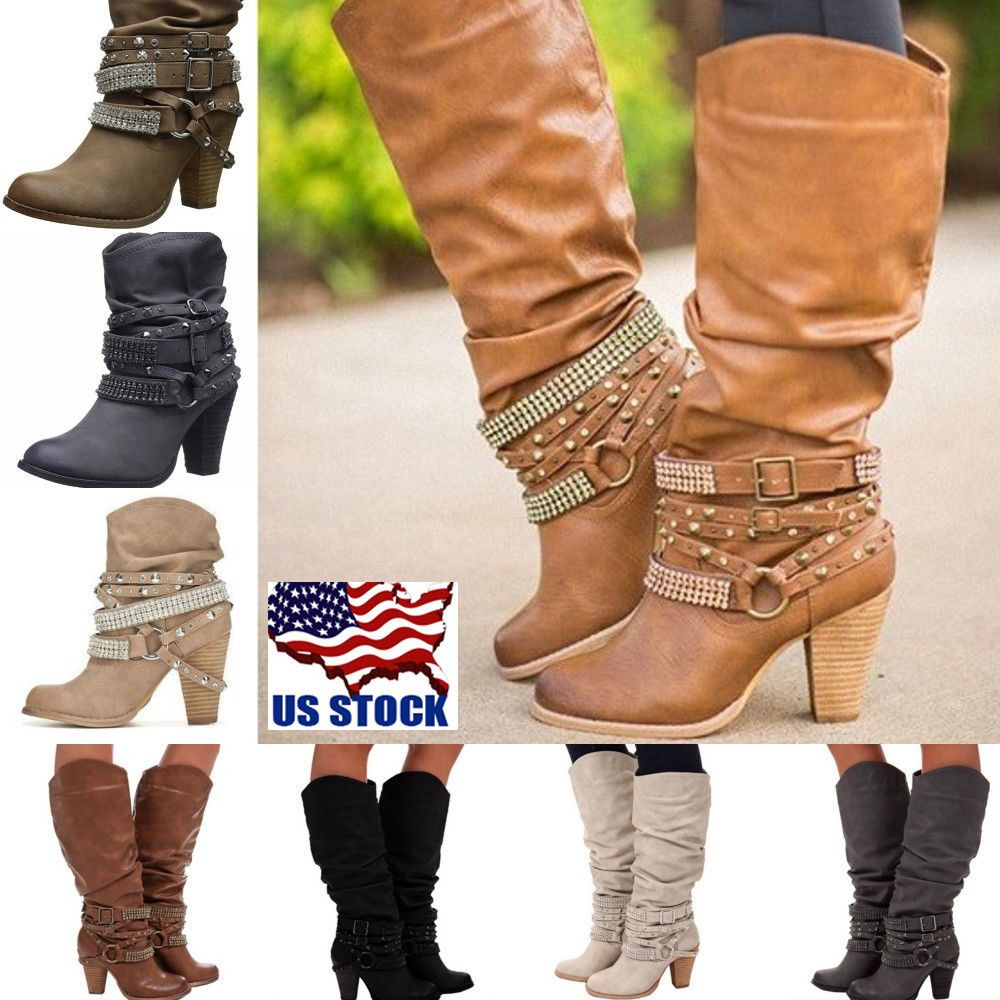 84c59c030160 Fashion Women s Block High Heel Buckle Rivet Punk Boots Mid Calf Boots  Shoes USA  Unbranded  MidCalfBoots  Casual Item specifics Condition  New  without box ...