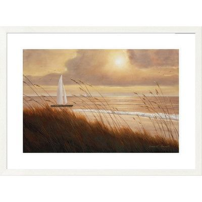 "Global Gallery 'Coastal Beach Grass Sunset' by Diane Romanello Framed Graphic Art Size: 28"" H x 38"" W x 1.5"" D"