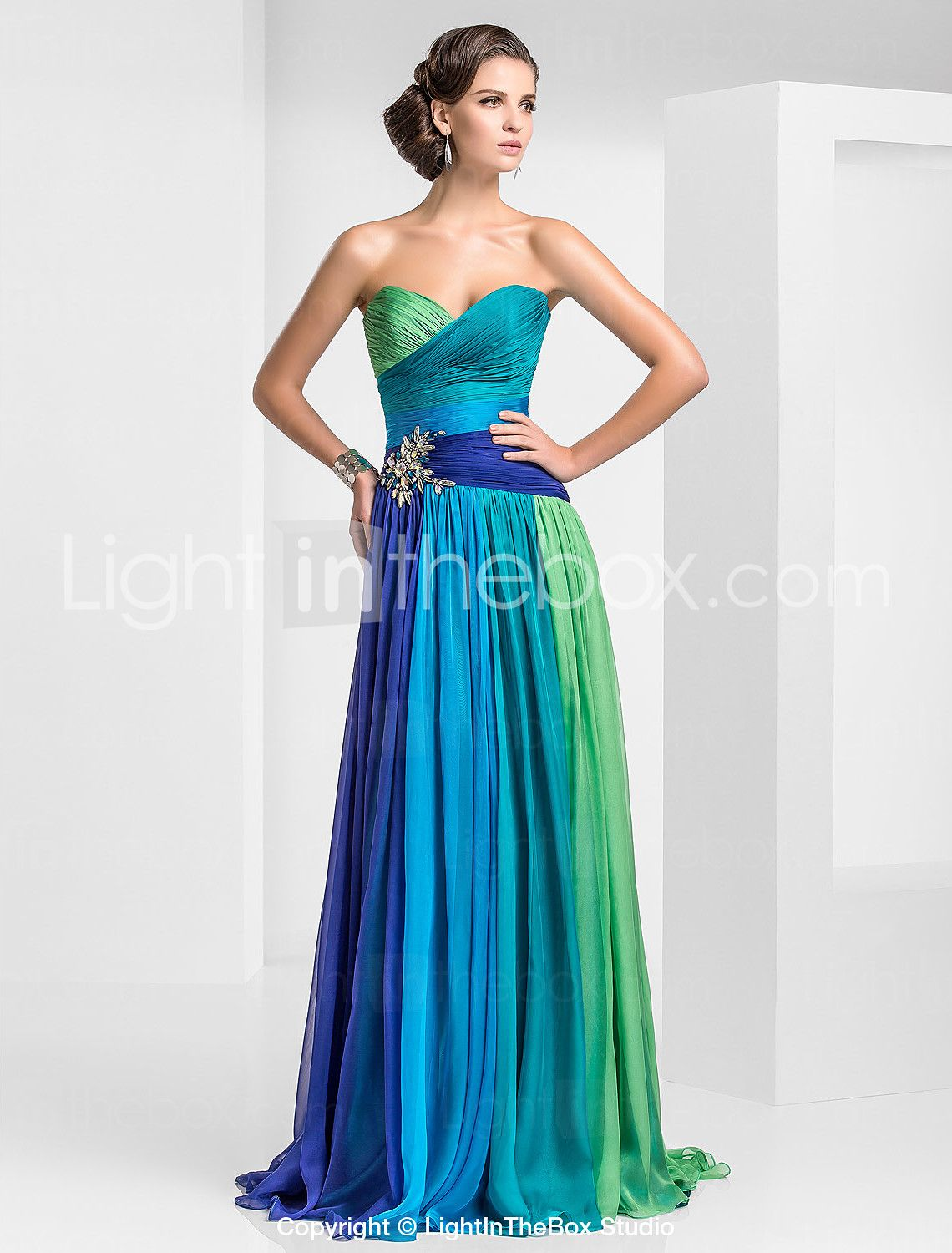 Prom / Military Ball / Formal Evening Dress - Blue/Green Ombre ...