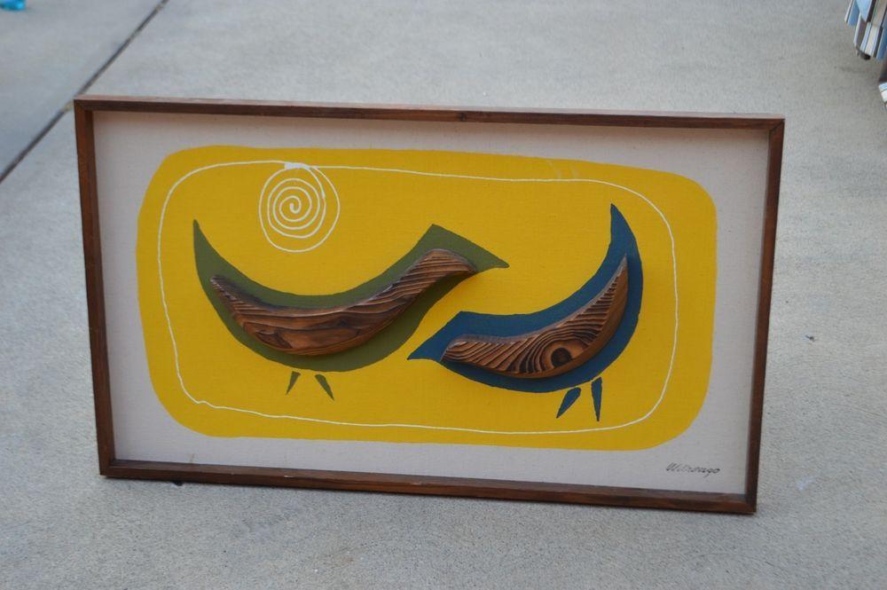 Witco Wilrongo Two Birds 3D Tiki Hanging Wall Art Mid Century Modern Rare!