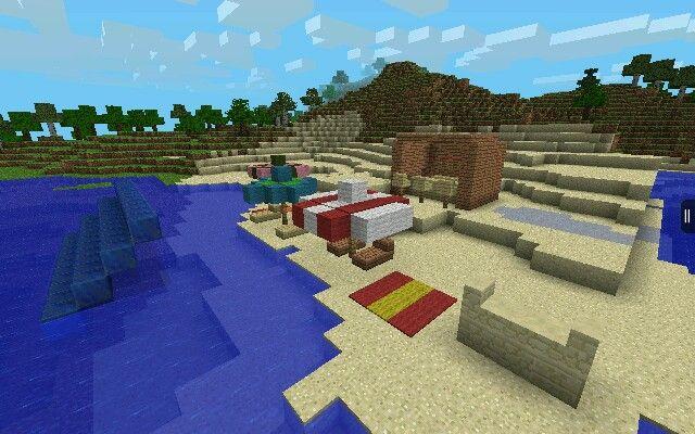 My Beach Party Idea For Minecraft Pocket Edition Minecraft Pocket Edition Pocket Edition Minecraft