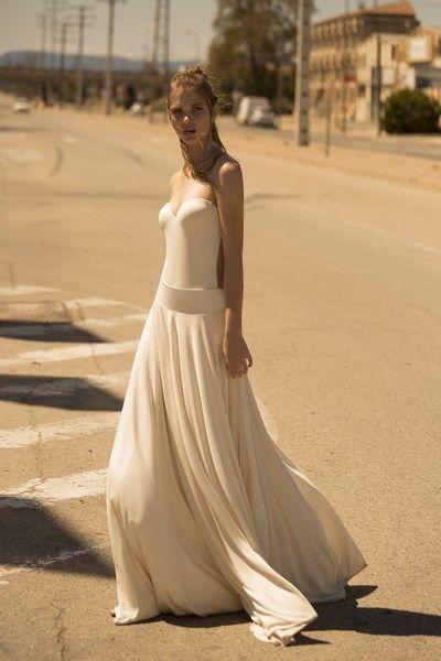 vestido de novia dos piezas body espalda descubierta falda en punto ...