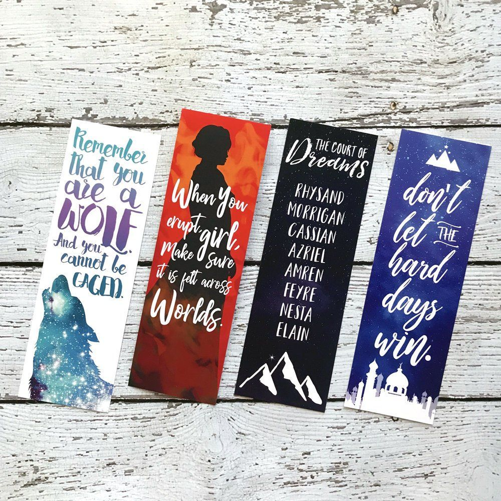 A Court Of Thorns And Roses Bookmark Set Acotar Bookmarks Feyre