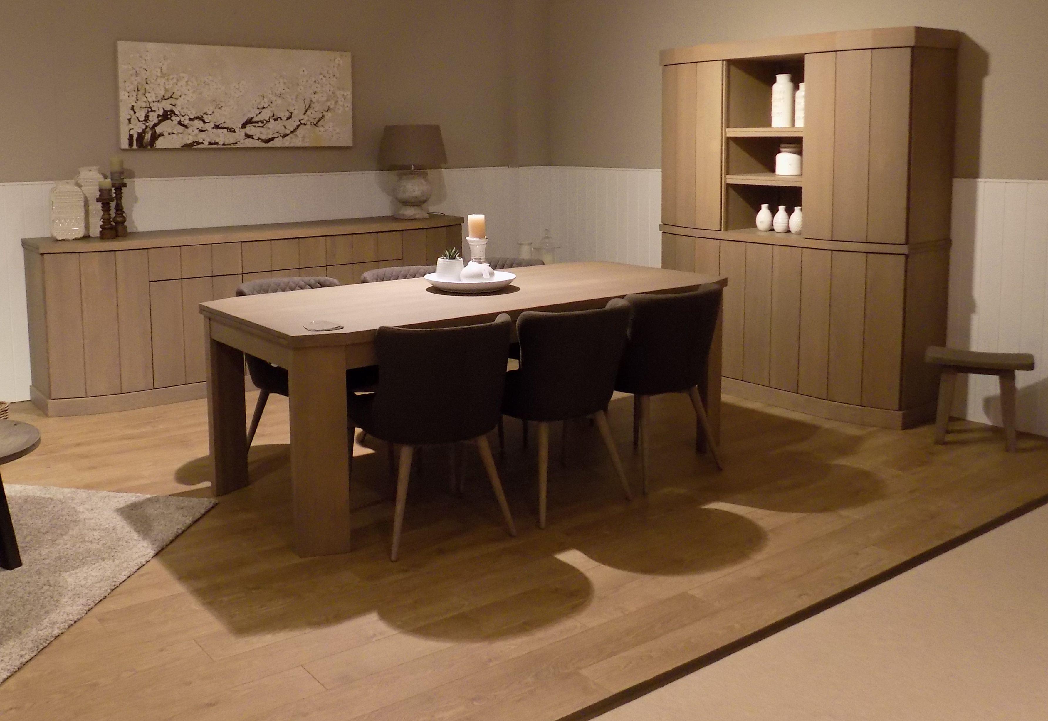 Eetkamer Otto massief eik, dressoir + bar + tafel + 6stoelen stof ...