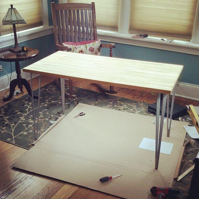 Ampmcrafts Ikea Wood Countertop With Vika Legs Ikea Wood Ikea Butcher Block Wood Countertops