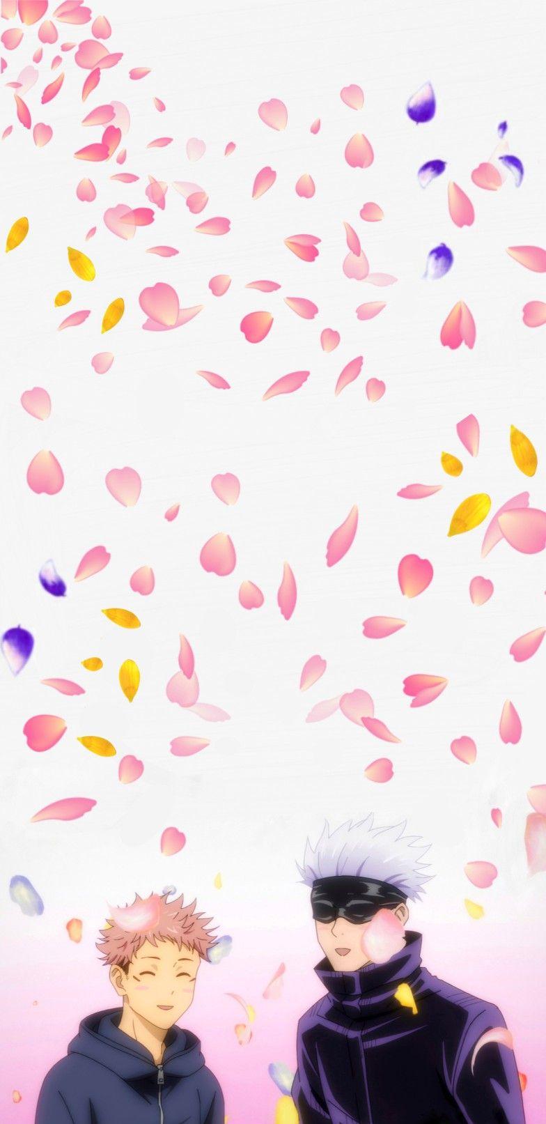 Yuji Itadori and Gojo Satoru Kawaii Flower Wallpaper