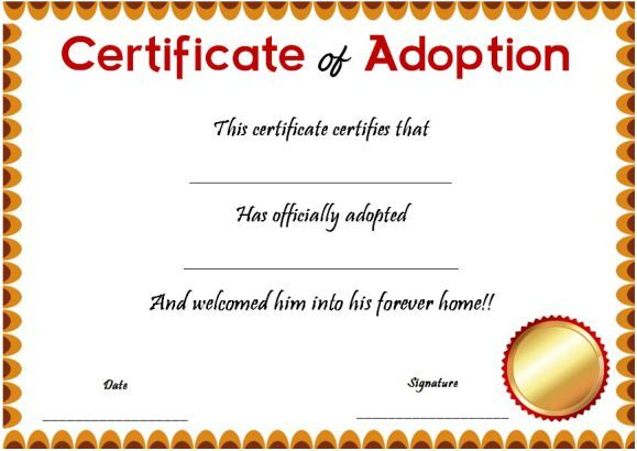 Blank Certificate Of Adoptions  Blank Adoption Certificate