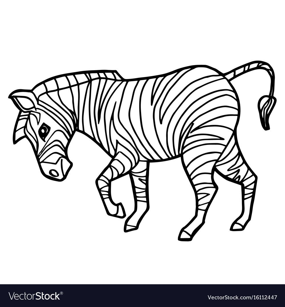 Cartoon Cute Zebra Coloring Page Vector Image On Vectorstock Zebra Coloring Pages Animal Coloring Pages Giraffe Coloring Pages