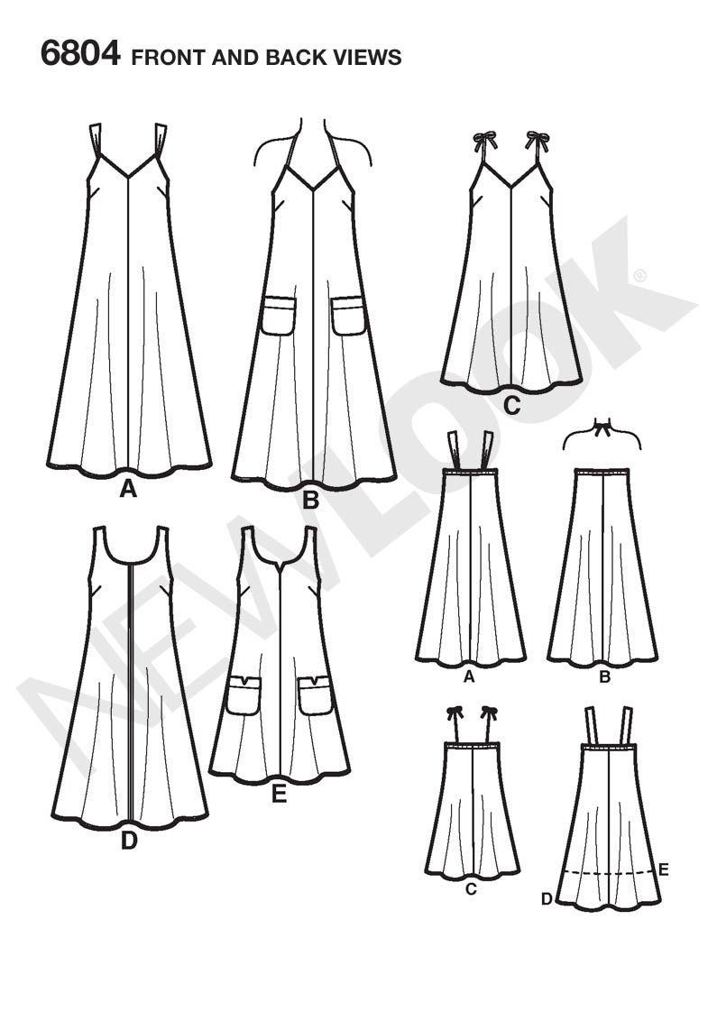 Womens Easy Two-Hour Dresses Pattern 6804 New Look Patterns   Dress ...