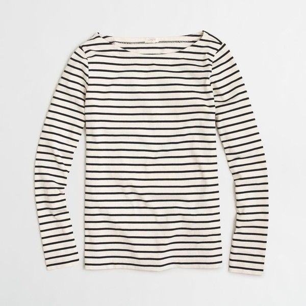 J Crew Factory Long Sleeve Striped Boatneck Tee   E D A Liked On Polyvore Featuring Tops T Shirts Stripe Tee Striped Long Sleeve T Shirt White T Shirt