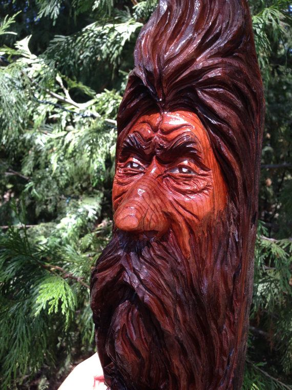 Hand Carved Wood Spirit Carving Cedar Corral Post Sculpture By ... Kettensaegenkunst Holz Carving Motorsaege