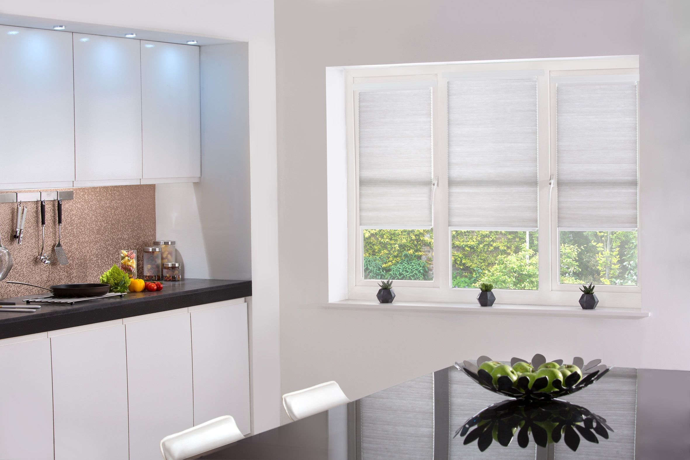 Hive Silkweave Ash blinds from Style Studio. Pleated blinds