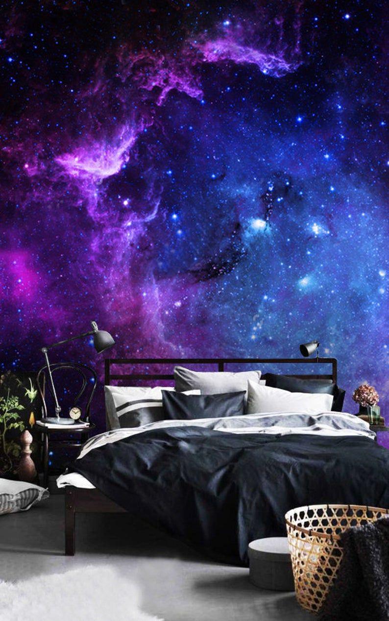 Wallpaperadhesive Vinyluniverse Starsskyremovablepeel And Etsy In 2020 Galaxy Room Galaxy Bedroom Dream Rooms